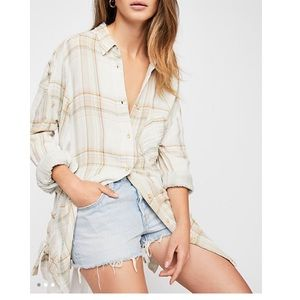 Free People Nordic Day Buttondown Top M NWT